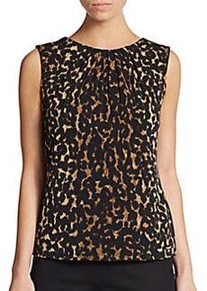 Calvin Klein Printed Pleatneck Top