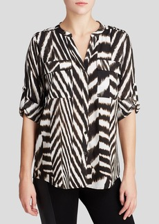 Calvin Klein Printed Roll Sleeve Blouse