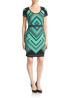 CALVIN KLEIN Printed Short-Sleeve Sheath Dress