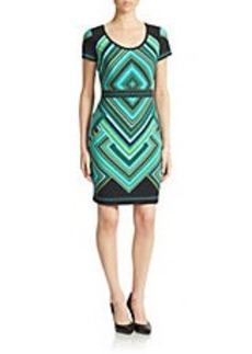 CALVIN KLEIN Printed Short-Sleeve Sheath Dress