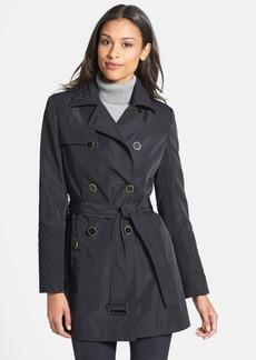 Calvin Klein Quilt Detail Double Breasted Trench