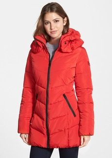 Calvin Klein Quilted Coat with Detachable Collar (Online Only)
