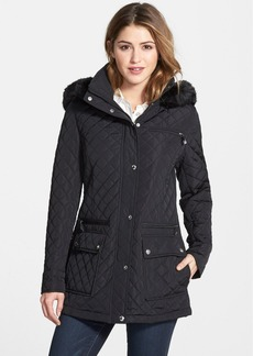Calvin Klein Quilted Coat with Detachable Faux Fur Trim Hood