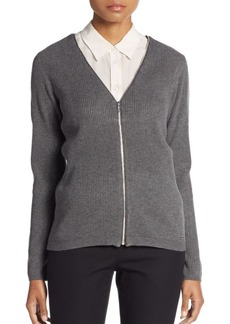Calvin Klein Ribbed Knit Zip Cardigan
