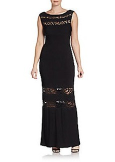 Calvin Klein Ribbed Lace-Paneled Gown