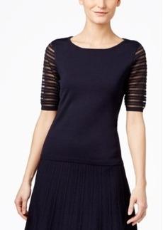 Calvin Klein Ribbed Mesh-Sleeve Sweater