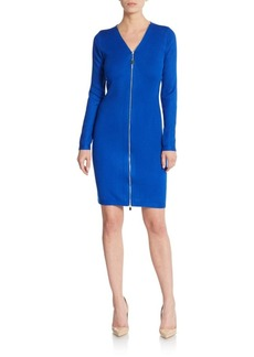 Calvin Klein Ribbed Zip-Front Sweater Dress