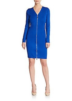Calvin Klein Ribbed Zip-Front Sweater Dress