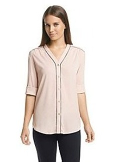 Calvin Klein Roll Sleeve Top With Contrast Piping