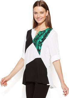 Calvin Klein Roll-Tab-Sleeve Colorblocked Blouse
