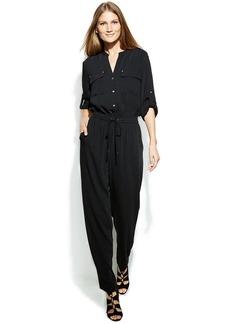 Calvin Klein Roll-Tab-Sleeve Drawstring-Waist Jumpsuit
