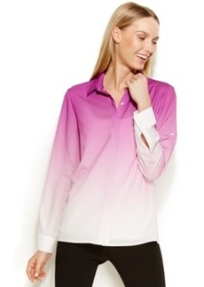 Calvin Klein Roll-Tab-Sleeve Ombre Blouse