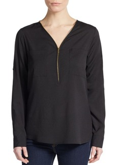 Calvin Klein Roll-Tab Sleeve Zip-Front Blouse