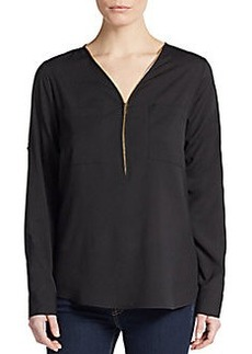 Calvin Klein Roll-Tab Sleeve Zip-Front Blouse/Black