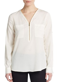 Calvin Klein Roll-Tab Sleeve Zip-Front Blouse/Blush
