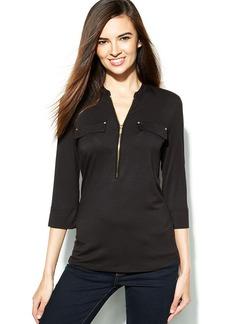 Calvin Klein Roll-Tab-Sleeve Zip-Front Top