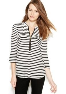 Calvin Klein Roll-Tab Striped Zip-Front Top