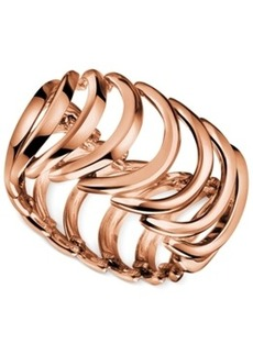 Calvin Klein Rose Gold-Tone Pvd Curved Link Ring