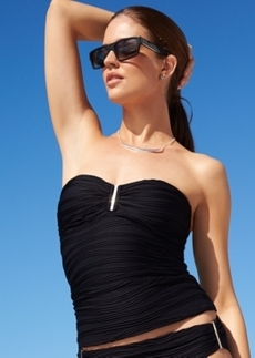 Calvin Klein Ruched Bandeau Tankini Top Women's Swimsuit