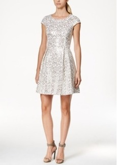 Calvin Klein Sequin Cap-Sleeve Fit-and-Flare Dress