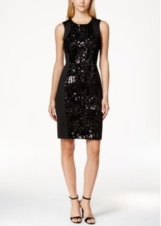 Calvin Klein Sequin Inset Scuba Sheath Dress