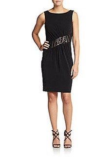 Calvin Klein Embellished Crossover Pleat Dress