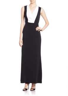 CALVIN KLEIN Sequined Colorblocked Gown