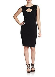 Calvin Klein Sequined Paneled Textured Dress
