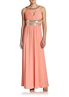 Calvin Klein Sequined Pintuck-Pleated Gown