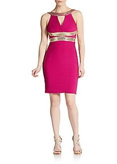 Calvin Klein Sequined Pleated Bodycon Dress