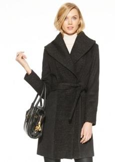 Calvin Klein Shawl-Collar Boucle-Knit Wrap Coat