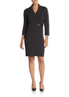 Calvin Klein Shawl Collar Cable Knit Sweater Dress