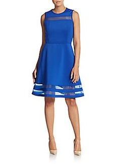 Calvin Klein Sheer-Panel A-Line Dress