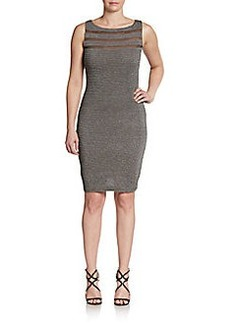 Calvin Klein Sheer Paneled Textured Dress