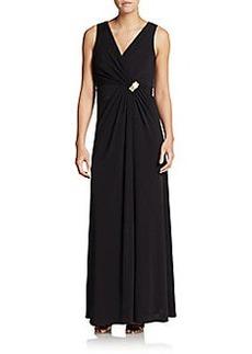 Calvin Klein Shirred Empire-Waist Gown