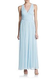 Calvin Klein Shirred Open-Back Chiffon Gown