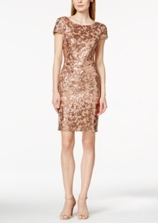 Calvin Klein Short-Sleeve Cowl-Back Sequin Sheath Dress