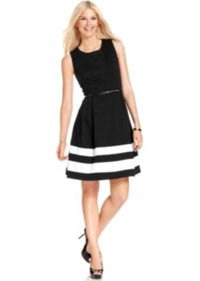 calvin klein calvin klein sleeveless belted stripe dress