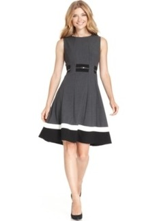 Calvin Klein Sleeveless Belted Striped Dress