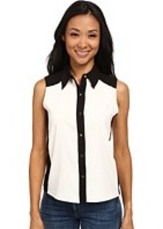 Calvin Klein Sleeveless Button Down w/ Color Blocking