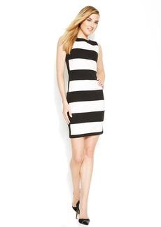 Calvin Klein Sleeveless Graphic Stripe Ponte Sheath