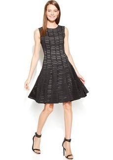 Calvin Klein Sleeveless Laser-Cutout A-Line Dress