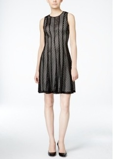 Calvin Klein Sleeveless Mesh Fit & Flare Dress