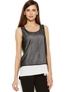 Calvin Klein Sleeveless Mesh Layered-Look Top