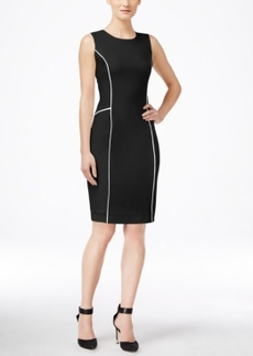 Calvin Klein Sleeveless Piped-Trim Sheath Dress