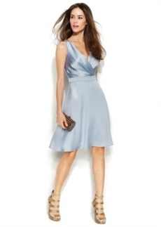 Calvin Klein Sleeveless Satin Surplice-Neck Dress