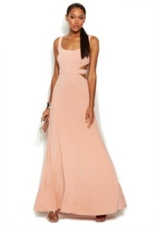 Calvin Klein Sleeveless Sparkle Cutout Gown