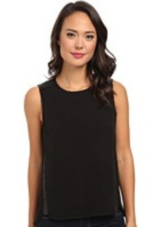 Calvin Klein Sleeveless Top w/ Braided Faux Leather
