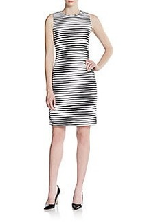 Calvin Klein Sleeveless Wave-Stripe Sheath Dress