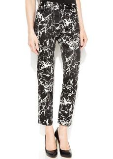 Calvin Klein Slim-Leg Marble-Print Ankle Pants
